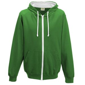 Branded Hoody for School Leavers in Kelly Green/Arctic White