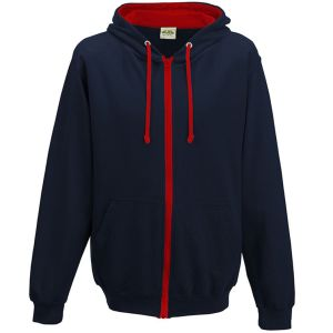 Promotional Hoody Branded Merchandise in New French Navy/Fire Red