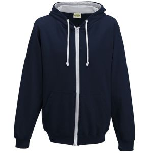 Logo Printed Hoody Workwear in New French Navy/Heather Grey
