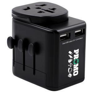Marketing Gifts Corporate Branded Travel Plugs in Black