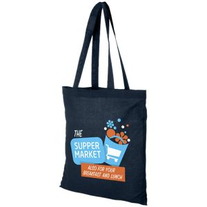 Navy Custom Branded Shopping Bags Made From Cotton
