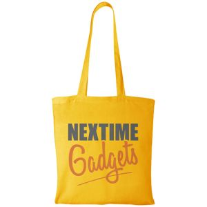 Yellow Company Message Printed Cotton Tote Bags