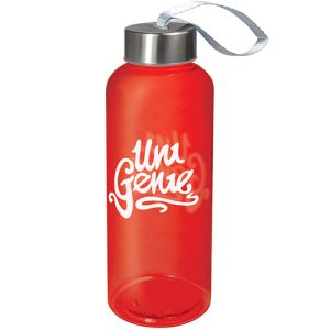 Transparent Red Company Branded Quench Tritan Plastic Bottles with your logo