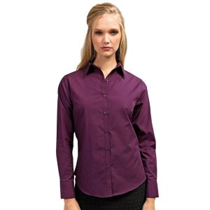 Promotional Ladies Long Sleeve Poplin Shirts for Uniform