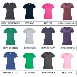 Logo Printed Ladies' T-Shirts for Staff Uniform or Marketing Giveaways