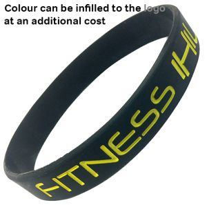 Debossed Silicone Wristbands with logo infilled with colour