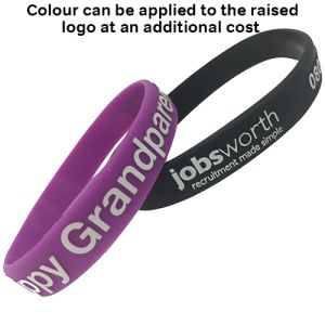 Custom Embossed Silicone Wristbands with added colour