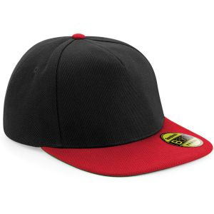 Black/Classic Red Beechfield Original Flat Peak Snapbacks Embroidered with Your Company Logo