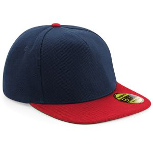 French Navy/Classic Red Promotional Snap-back Caps Embroidered with your Logo