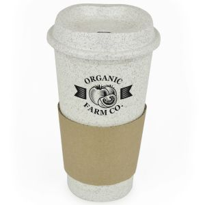 Branded Bamboo Coffee Cup with Card Grip with your Logo
