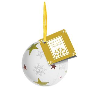 Promotional White Champagne Chocolate Truffle Bauble Tins for Events