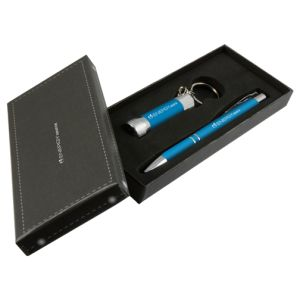 Light Blue Promotional Pen And Torch Sets