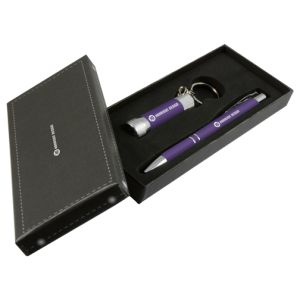 Purple Branded Pen And Torch Sets
