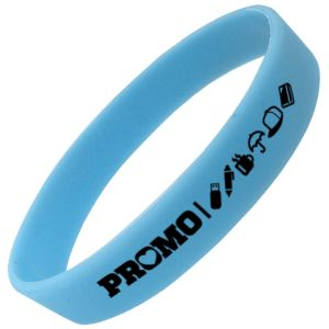 Blue Corporate Branded Glow in the Dark Wristbands for Charity Promotions