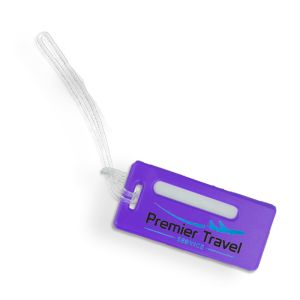 Recycled plastic UK-made luggage tags for marketing campaigns