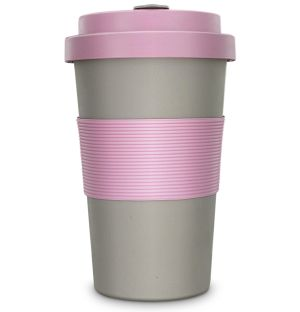 BamBroo Promotional Travel Mug In Dove Grey & Peony Pink