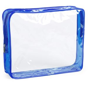 Clear Branded Travel Bag With Blue Zip