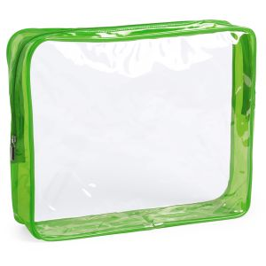 Clear Promotional Travel Bag With Green Zip