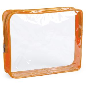 Clear Branded Travel Bag With Orange Zip