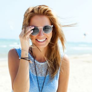 Circular Promotional Sunglasses In White