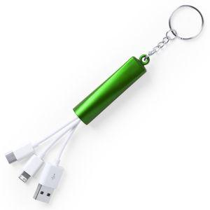 Light Up Promotional USB Adaptor Keyrings in Green