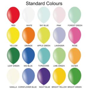 Promotional Balloons Colour Chart