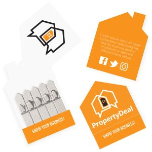 Promotional seed sticks with house-shaped packaging