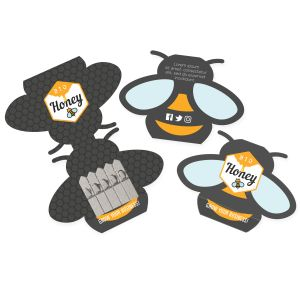 Full colour promotional bee-shaped seed sticks