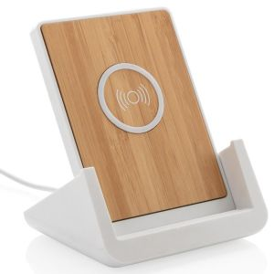 Branded wireless charging stand made from natural bamboo