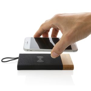 Branded bamboo power bank with wireless charging