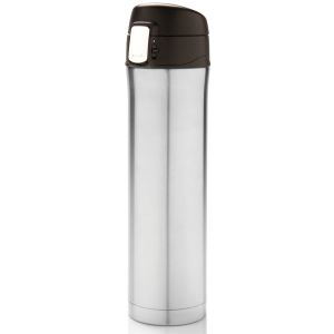 Branded Easy Lock Vacuum Flasks In Silver/Black