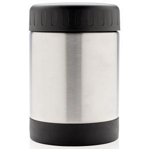 Vacuum Insulated Steel Food Flask In Silver & Black