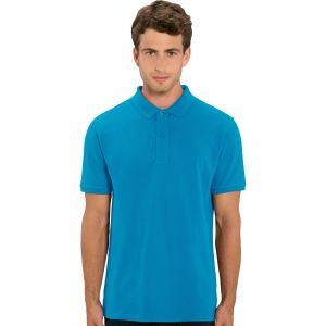 100% organic cotton printed polo shirt in azure