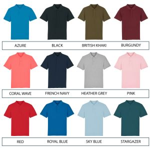Range of colours available for 100% organic cotton polo shirts