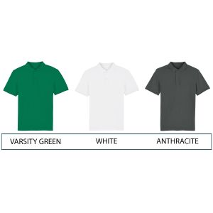 Colours available for 100% organic cotton branded polo shirts