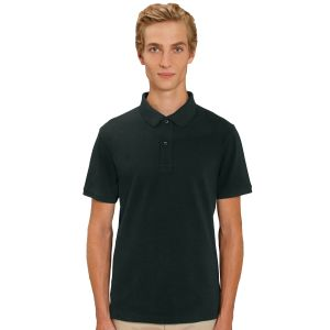 100% organic cotton branded polo shirt in black