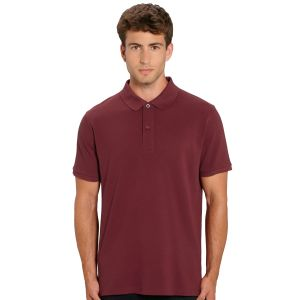 100% organic cotton branded polo shirt in burgundy