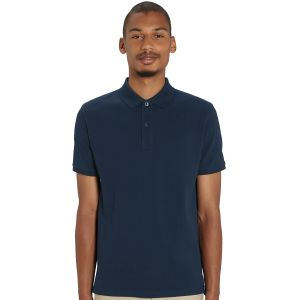 100% organic cotton printed polo shirt in french navy