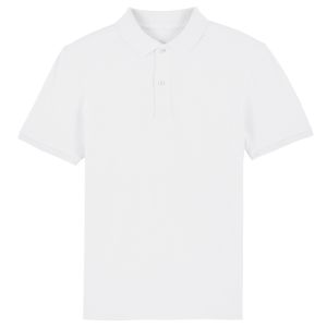 100% organic cotton printed polo shirt in white