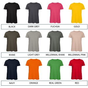 Range of colours available for B & C Inspire Ladies' Organic T-Shirts