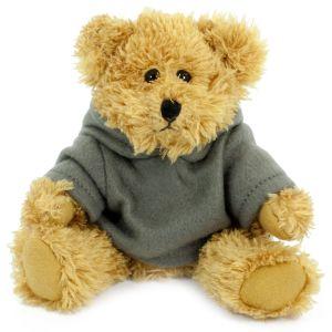 Promotional teddy bear wearing a grey hoody
