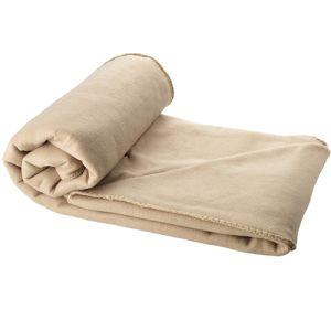 Fleece Blanket with Pouch in Beige