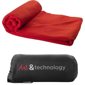 Promotional Fleece Blanket with Pouch with company logos