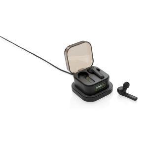 Custom branded earphones with wireless charging case