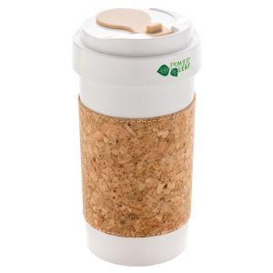 Promotional eco-friendly travel mug with cork sleeve