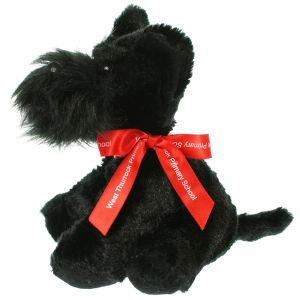 Promotional Scottie dog soft toy with printed ribbon
