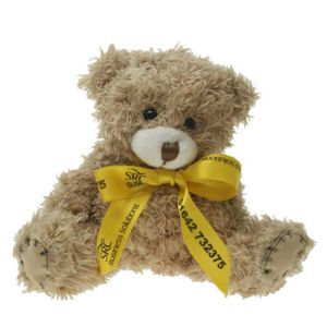 12cm Paw Teddy Bears with Bows in Mocha