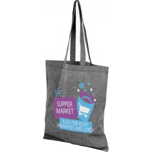 Branded Recycled Cotton Tote Bag in heather black from Total Merchandise