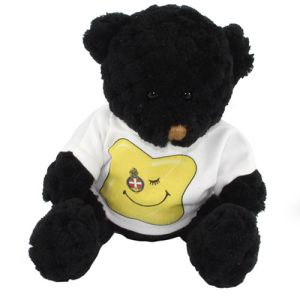 15cm Waffle Bears with T Shirts in Coal