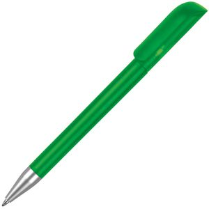Branded ball pens in light green with colour branding